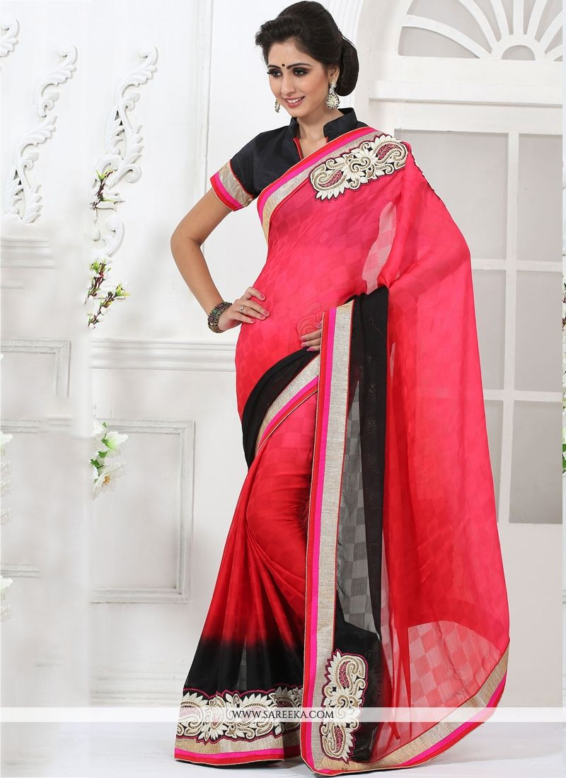 Jacquard Hot Pink Embroidered Work Casual Saree