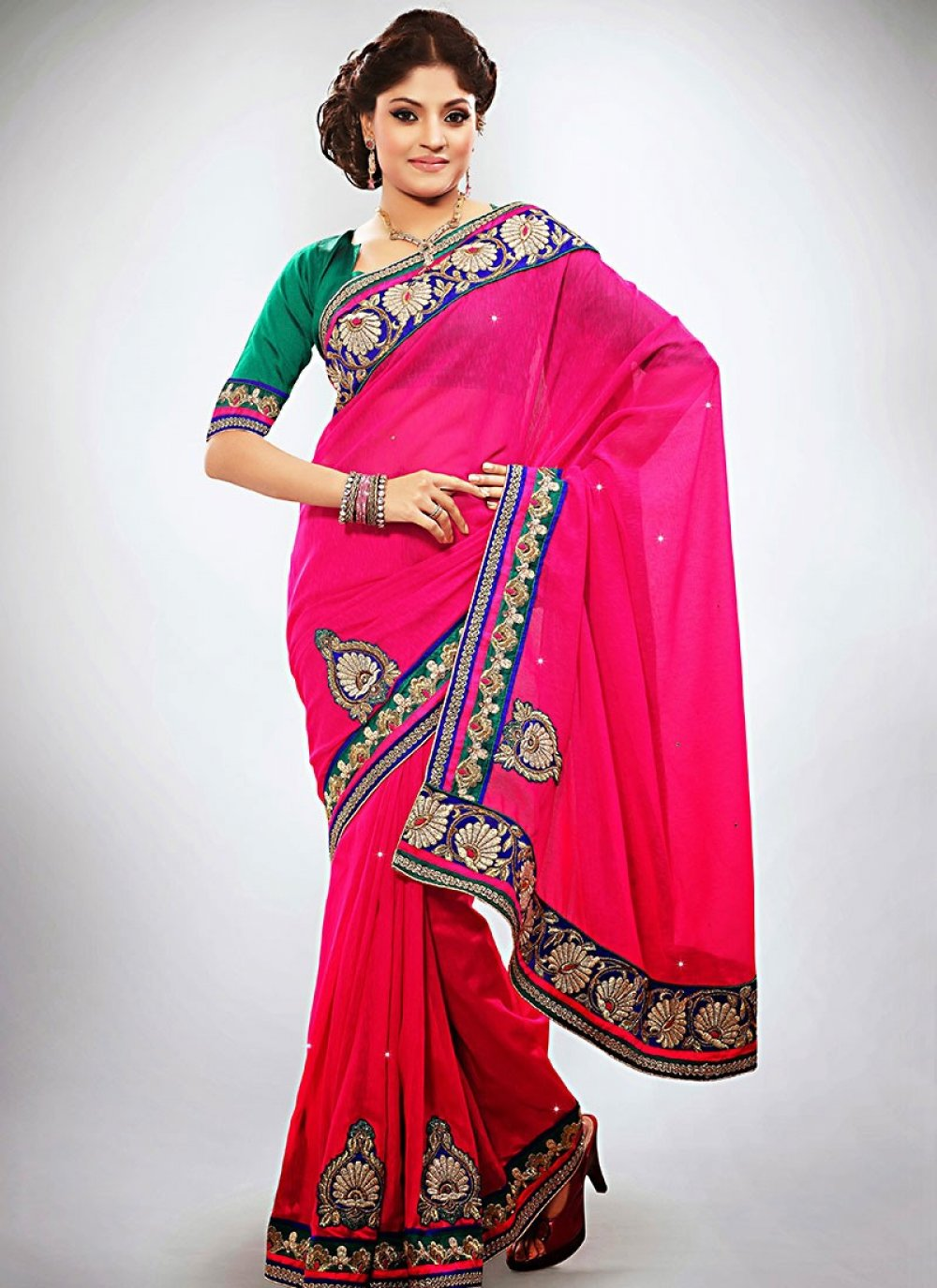 Magenta Jute Wedding Saree