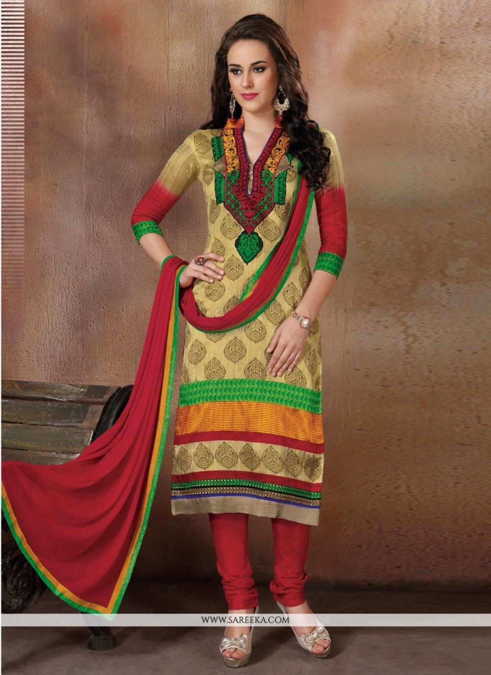 Multi Colour Resham Work Churidar Designer Suit