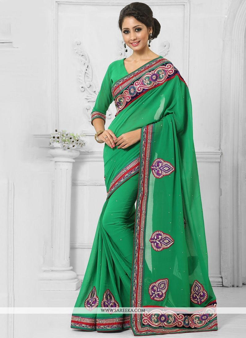 Faux Chiffon Green Designer Saree