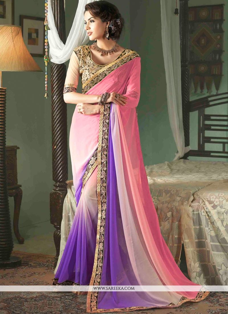 Patch Border Work Hot Pink and White Designer Saree