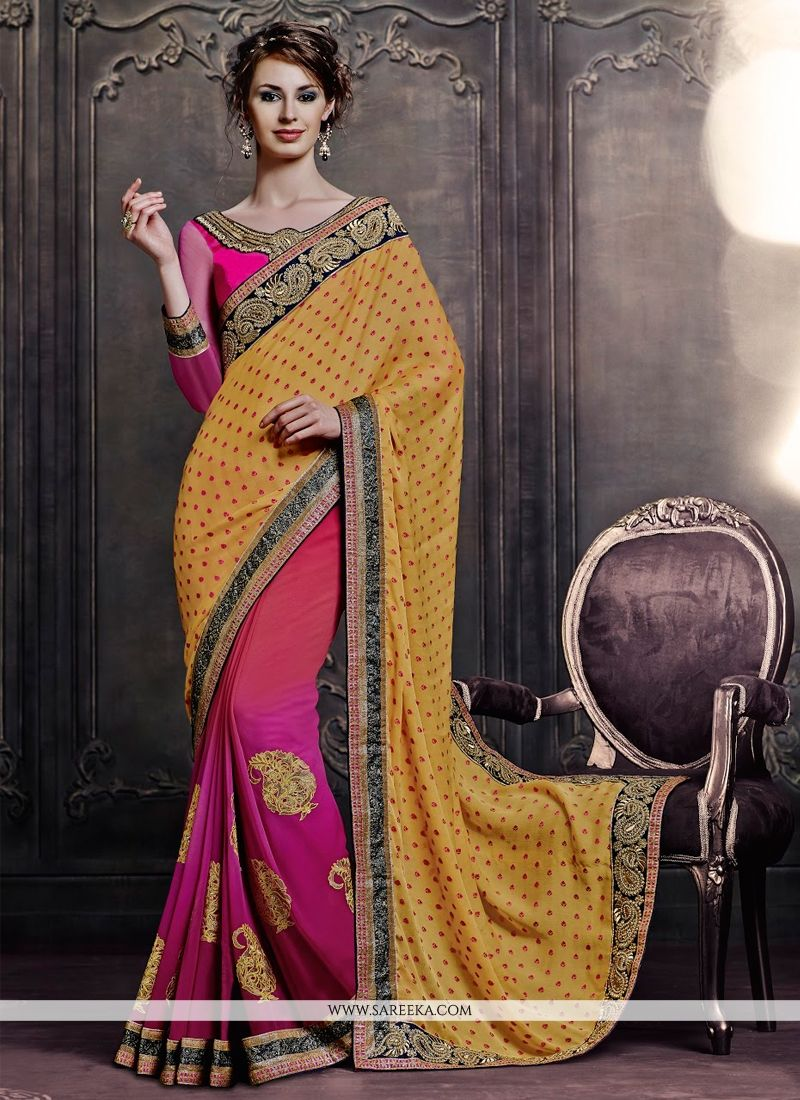 Pink and Yellow Patch Border Work Faux Chiffon Designer Saree