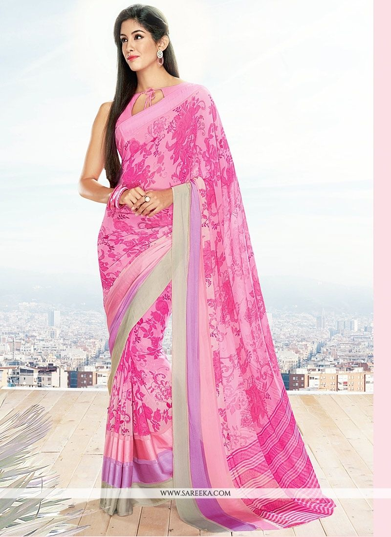 Georgette Pink Casual Saree