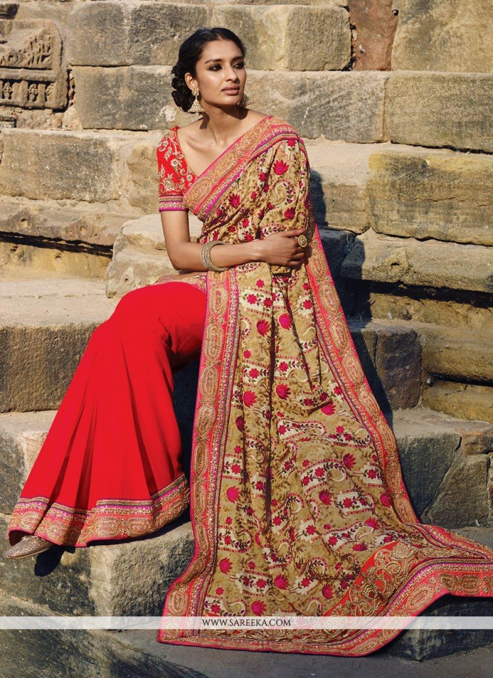 Red Bembarg Designer Saree