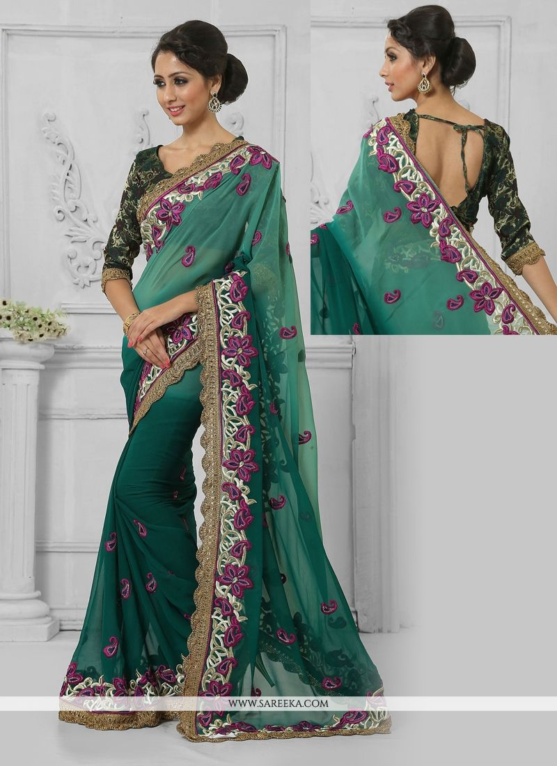 Resham Work Green Faux Chiffon Designer Saree