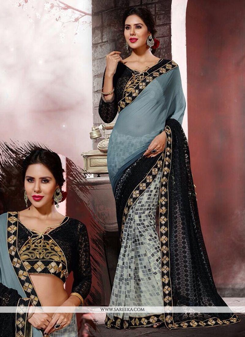 Embroidered Work Grey Designer Saree