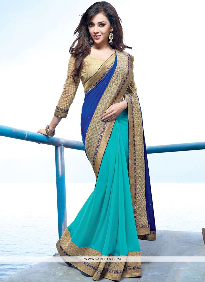 Georgette Blue Patch Border Work Designer Saree