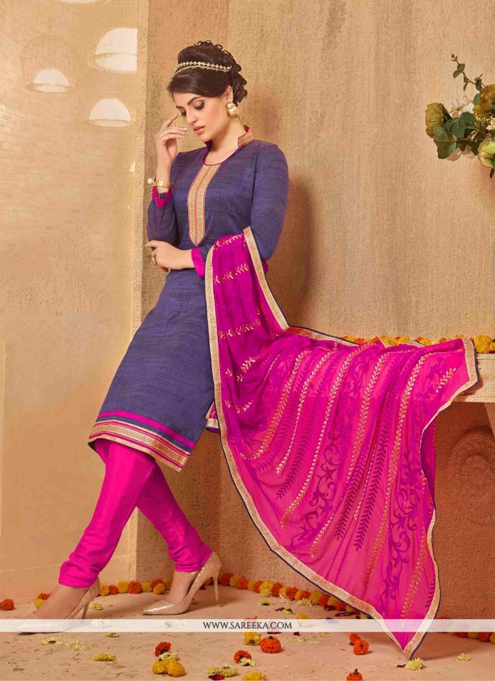 Lace Work Hot Pink Banarasi Silk Churidar Salwar Kameez