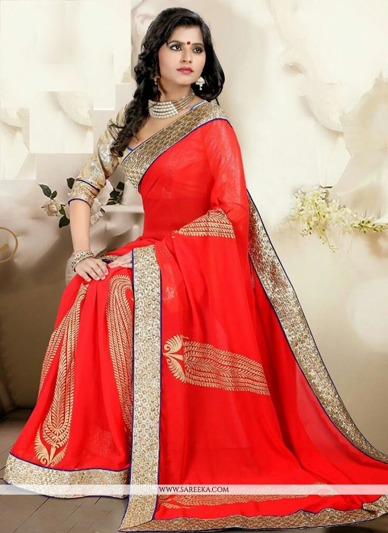 Red Casual Saree
