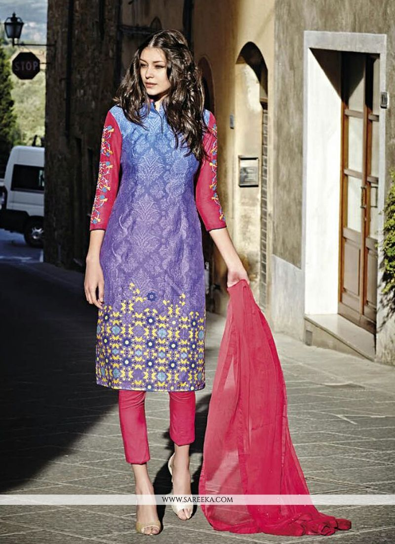 Multi Colour Designer Straight Salwar Kameez