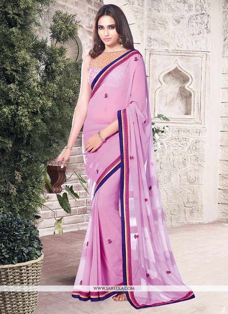 Pink Lace Work Georgette Casual Saree