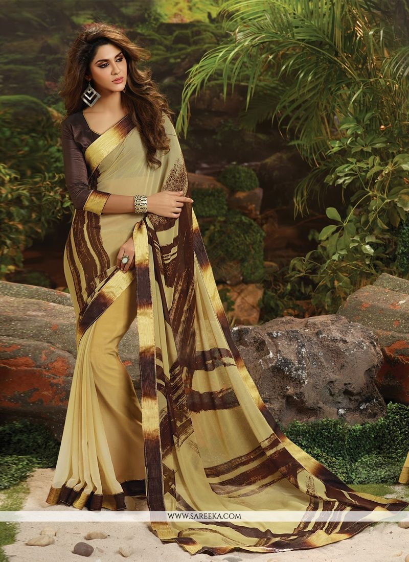 Weight Less Beige Lace Work Casual Saree