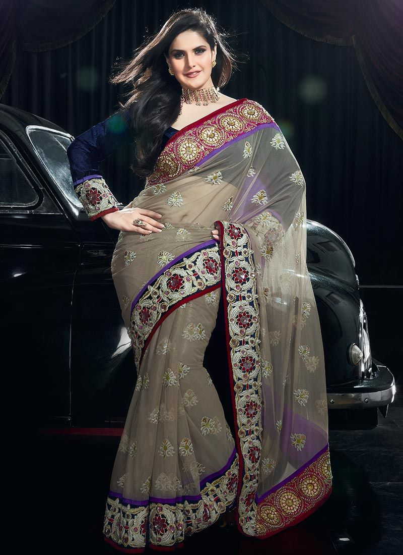 Tradition Work Net Grey Saree