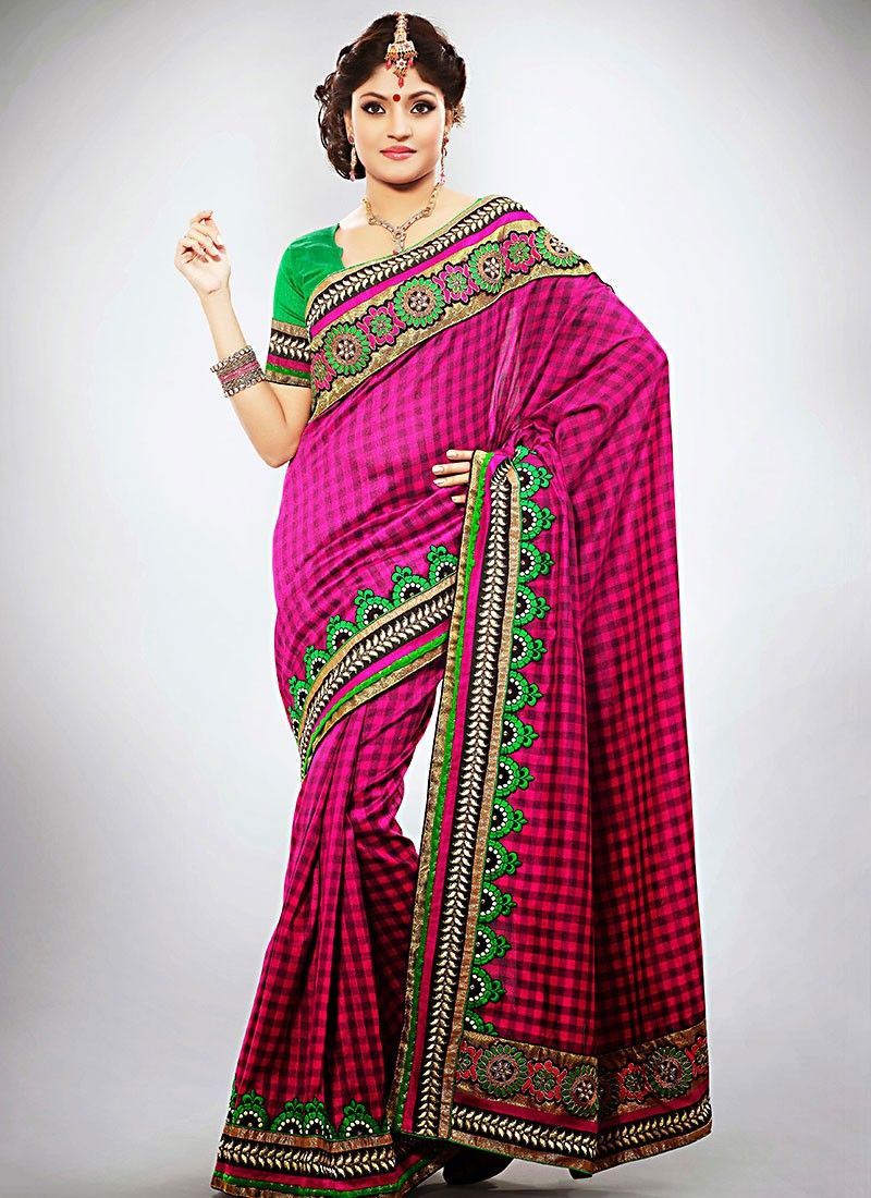 Traditional Magenta Border Work Saree