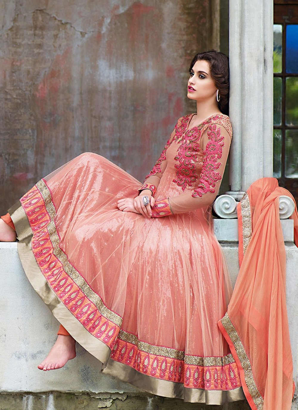Traditional Peach Net Anarkali Suit