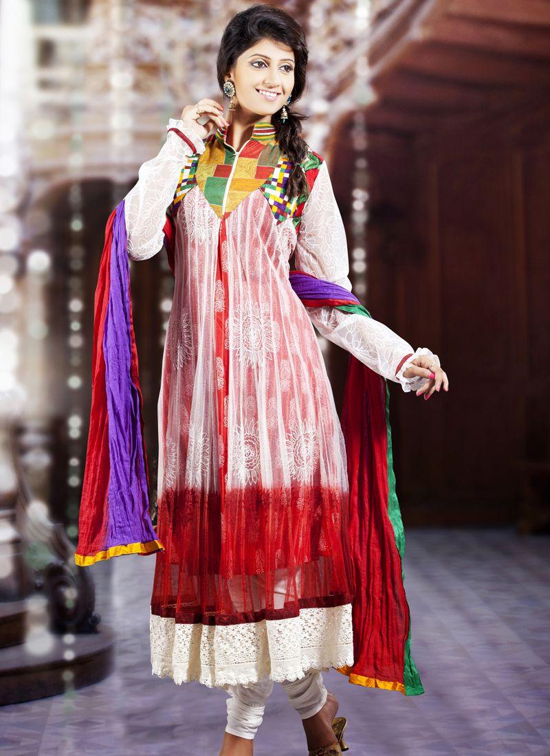 Tranquil Bick Red, Bluish Purple & White Salwar Kameez