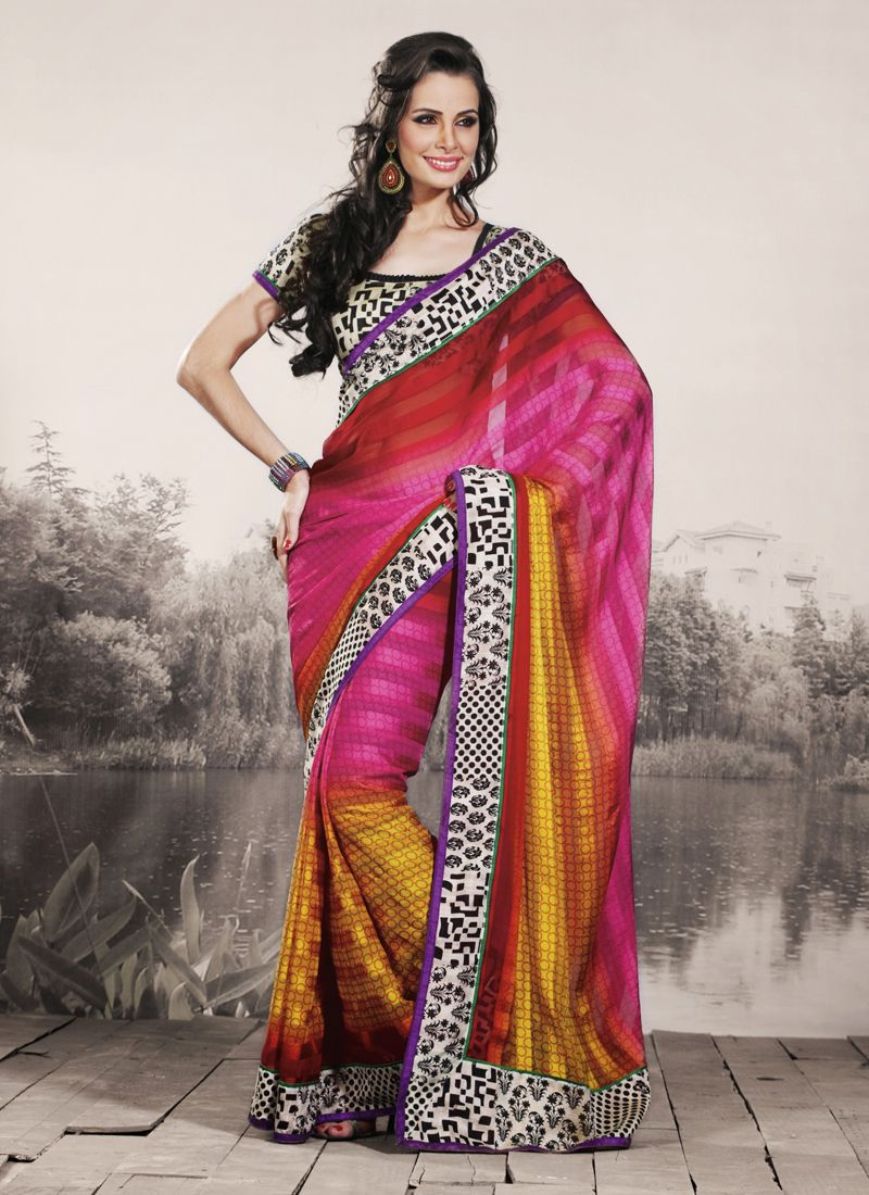 Tranquil Bick Red, Deep Pink & Gold Color Embroidered Saree