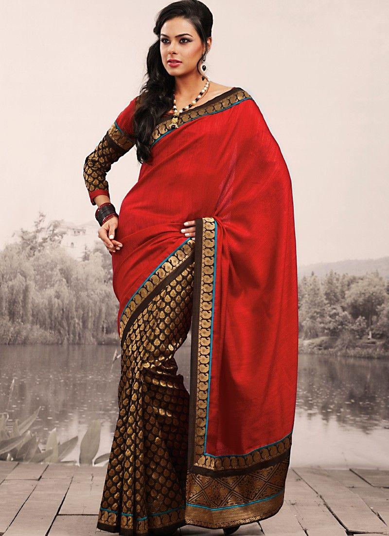 Tranquil Brown & Coral Embroidered Saree