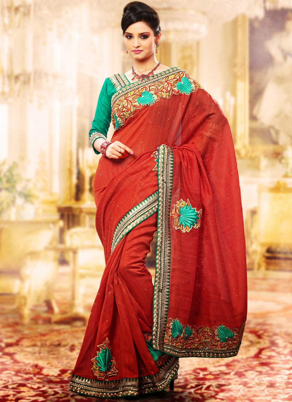 Tranquil Coral Embroidered Saree