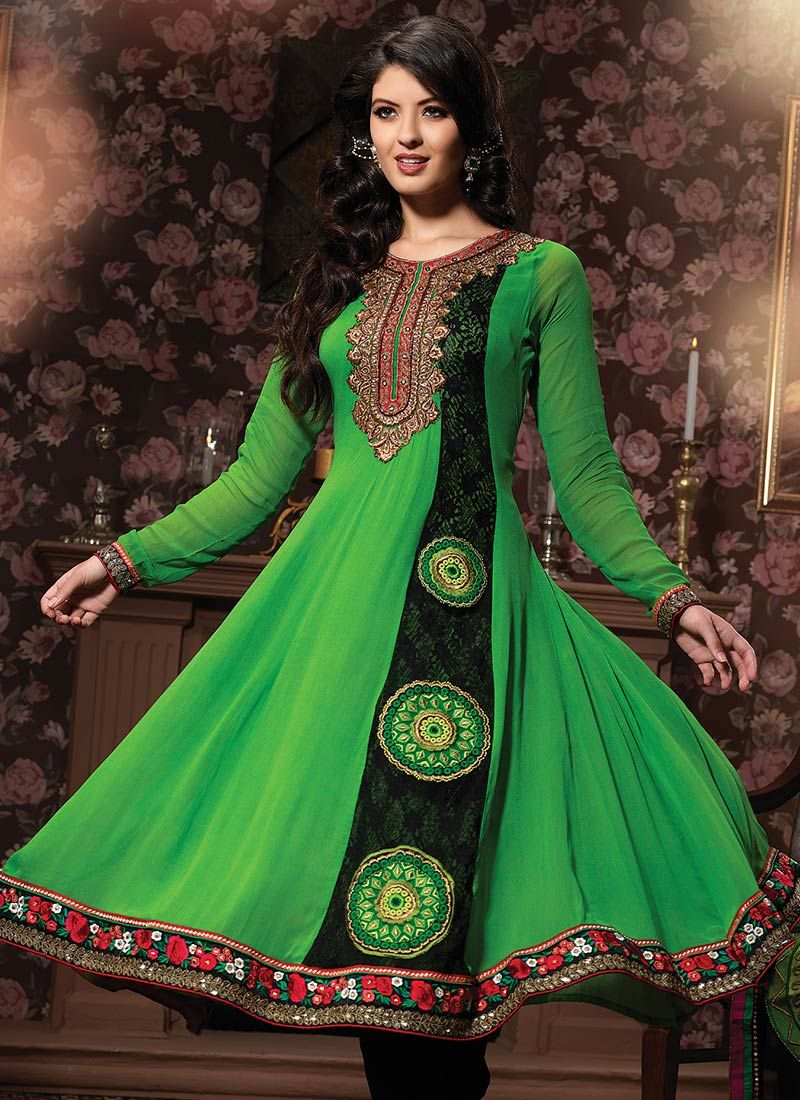Tranquil Green Georgette Churidar Suit