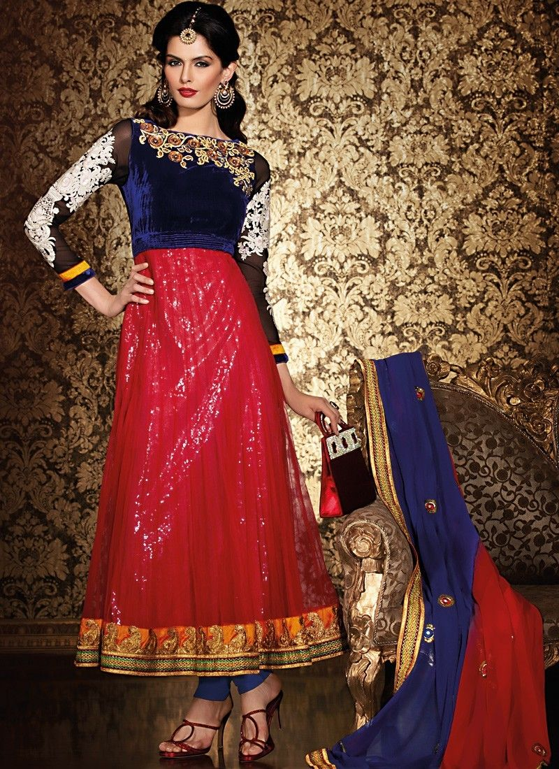 Tranquil Navy Blue & Red Salwar Kameez