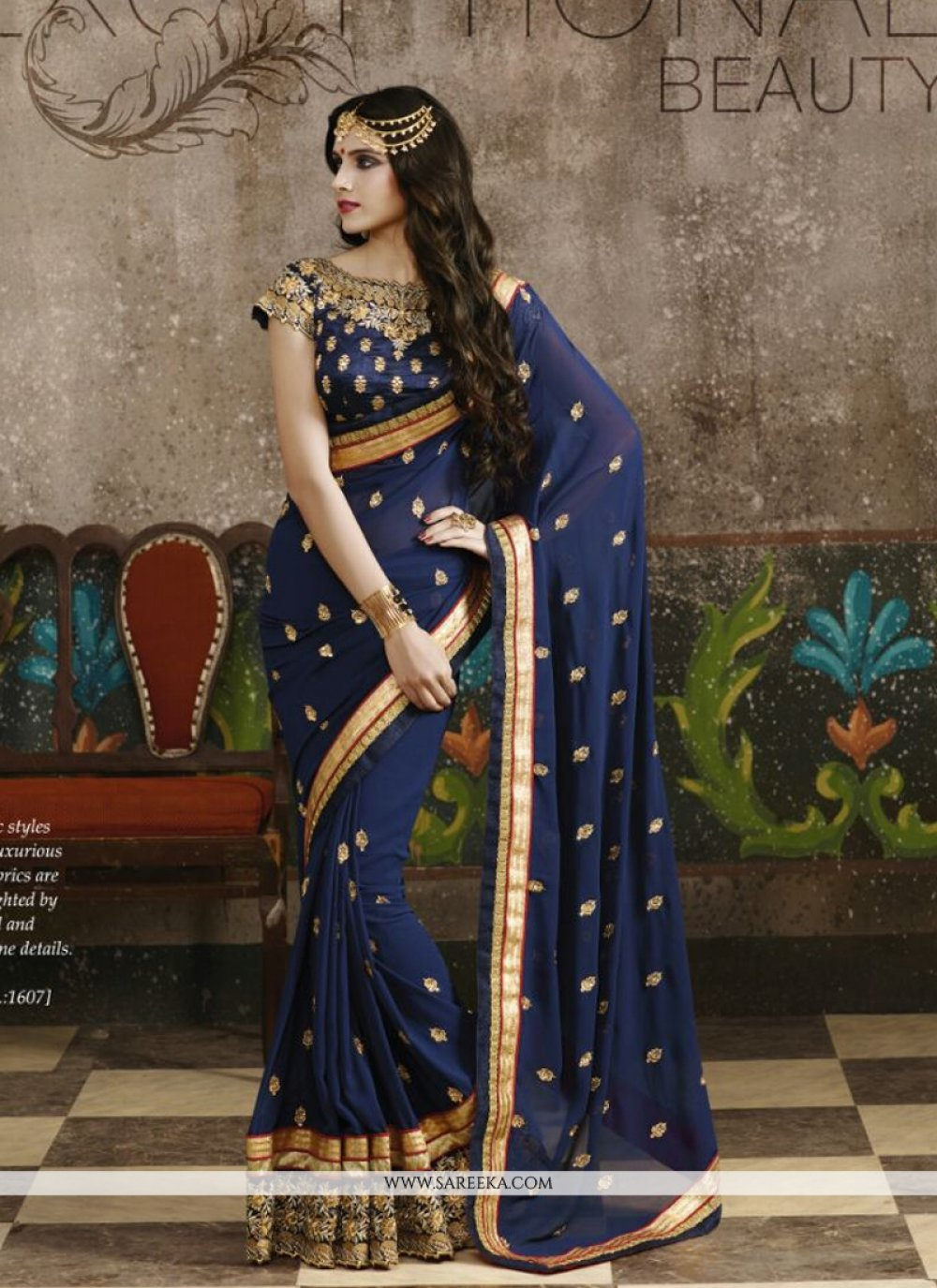 Georgette Blue Designer Saree