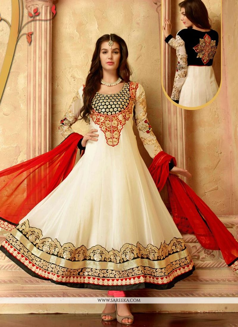 Off White Georgette Anarkali Salwar Suit