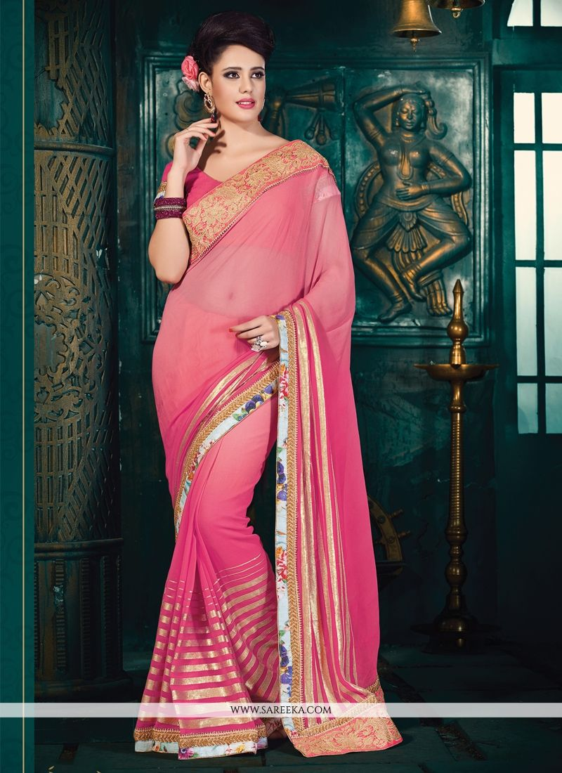 Pink Faux Chiffon Designer Saree