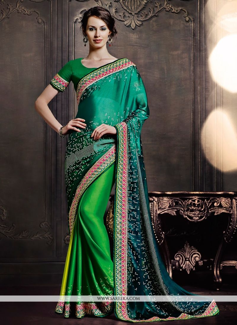 Raw Silk Green Designer Saree