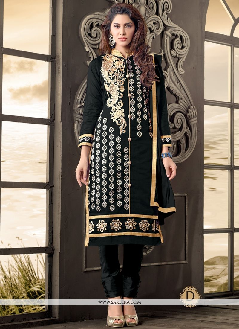 Zari Work Black Salwar Suit