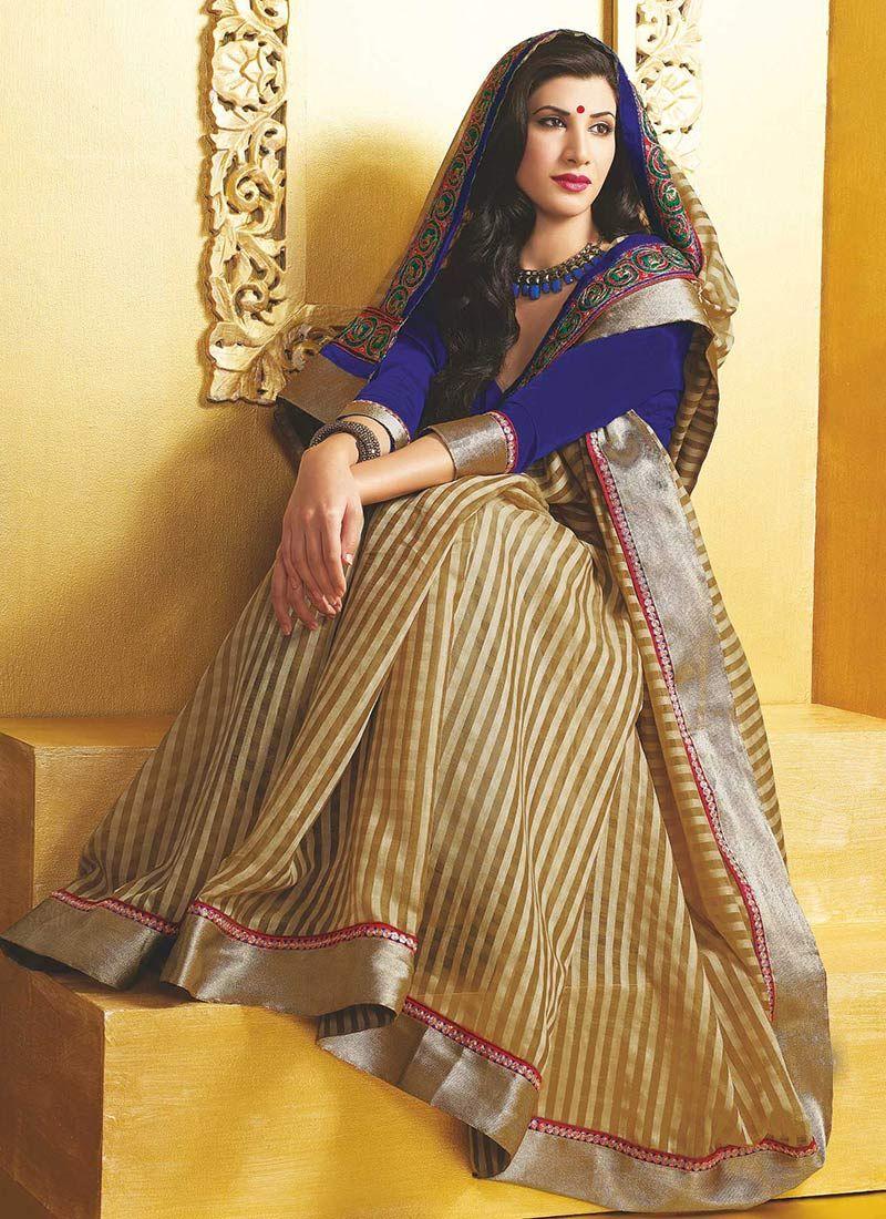 Beige Art Silk Party Wear Saree
