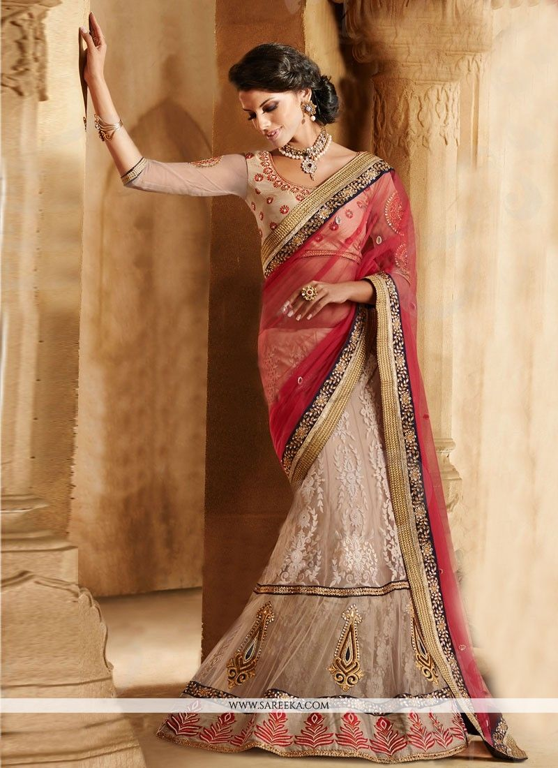Beige Embroidered Work Lehenga Sarees