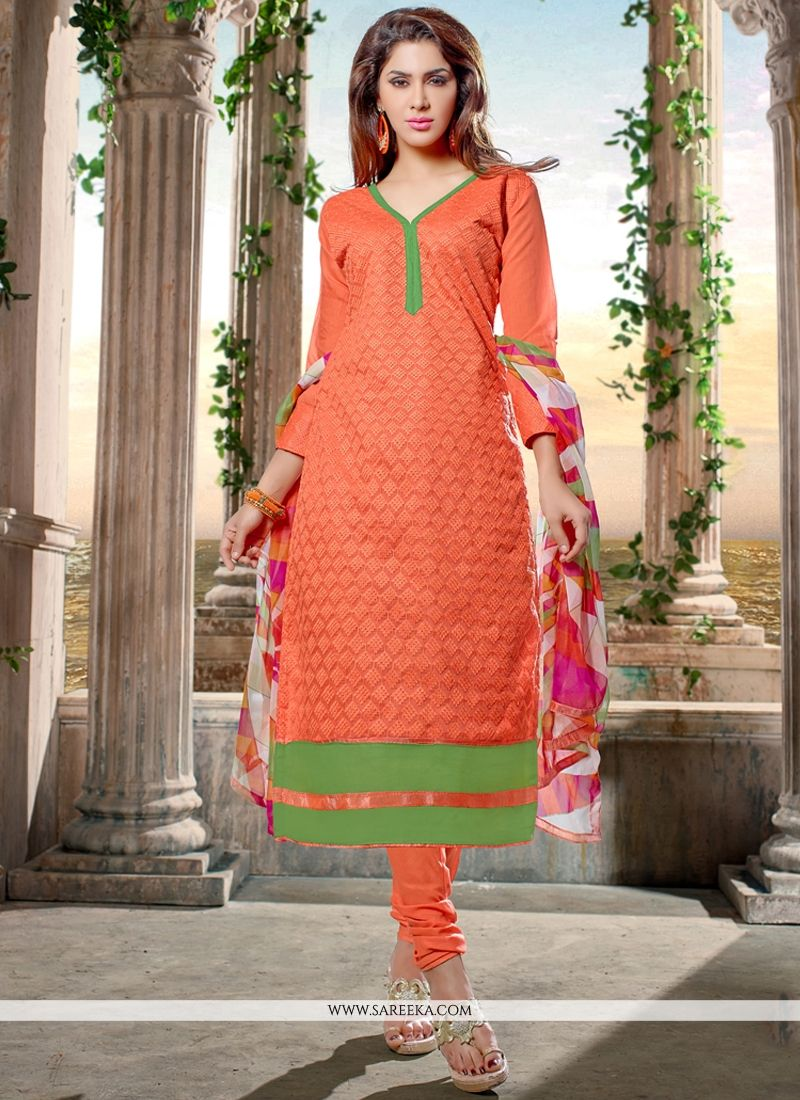 Chanderi Cotton Orange Churidar Designer Suit