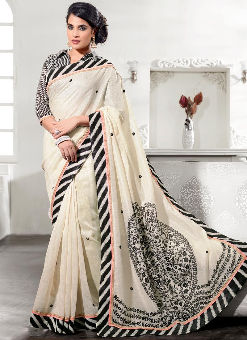 Cream Patch Border Work Silk Saree