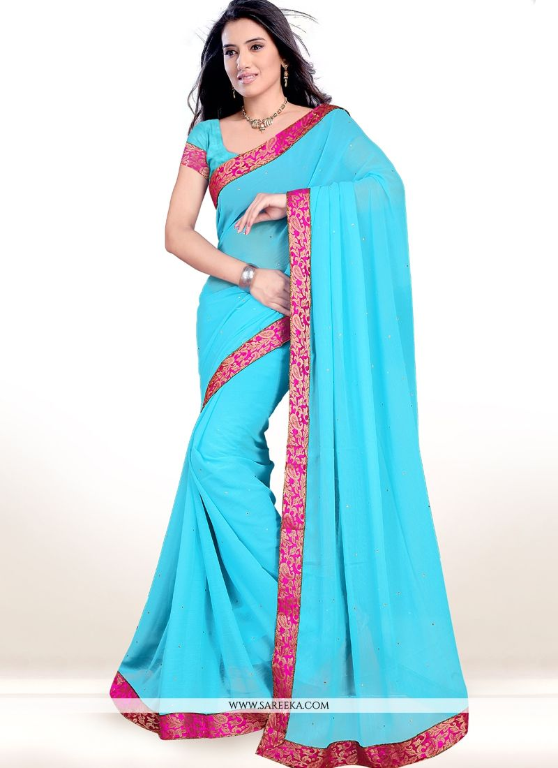 Faux Chiffon Lace Work Casual Saree