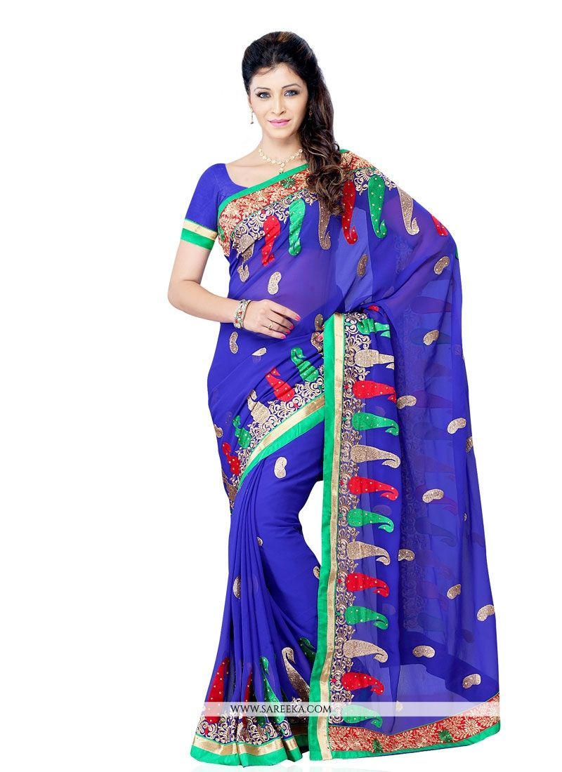 Georgette Blue Embroidered Work Designer Saree