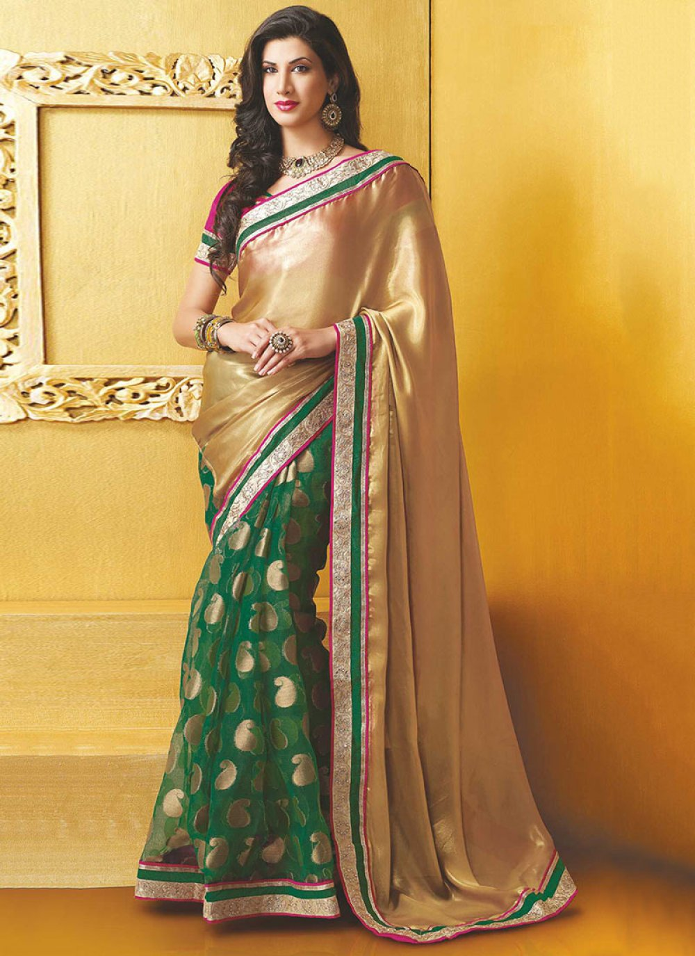 Gold And Green Half And Half Saree