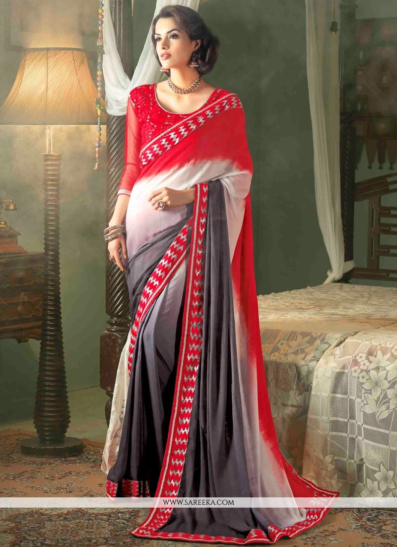 Grey and Red Resham Work Faux Crepe Contemporary Saree