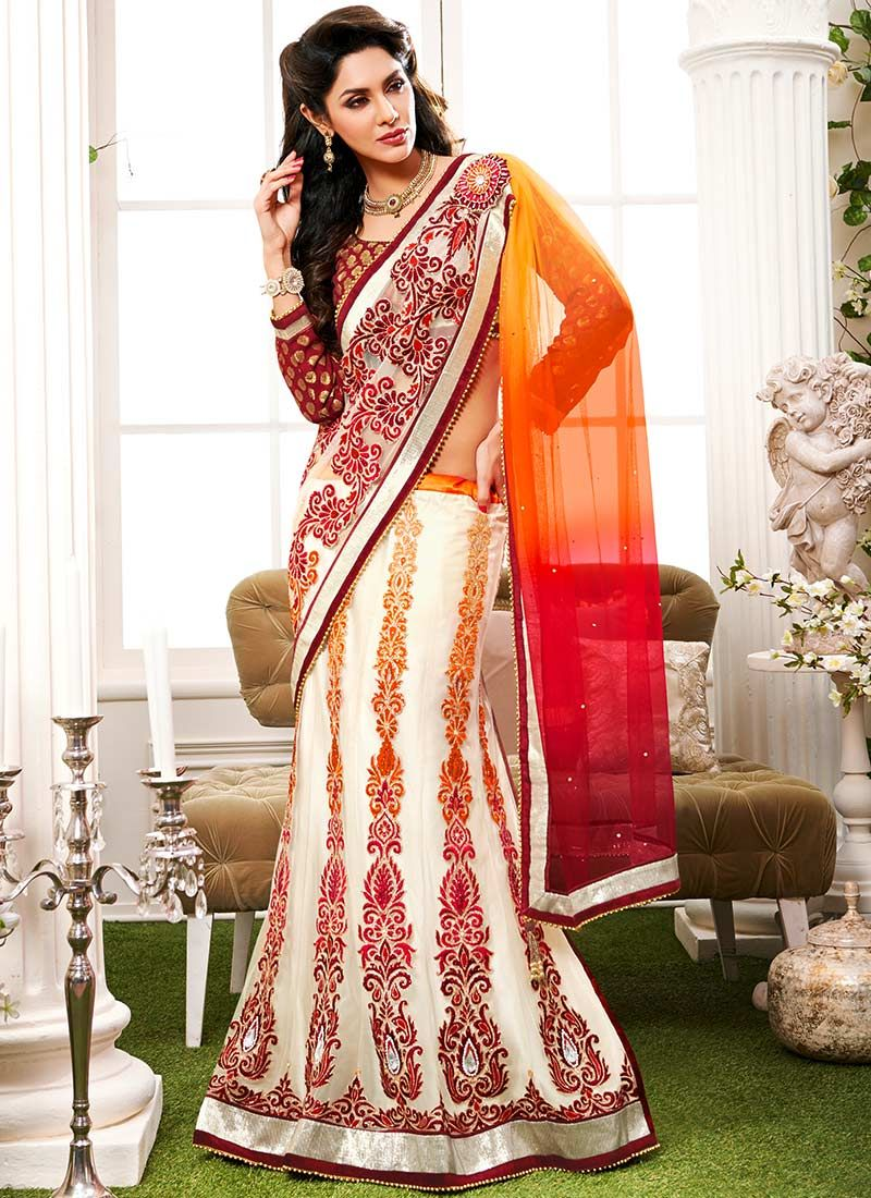 Off White And Orange Butterfly Pallu Lehenga Saree