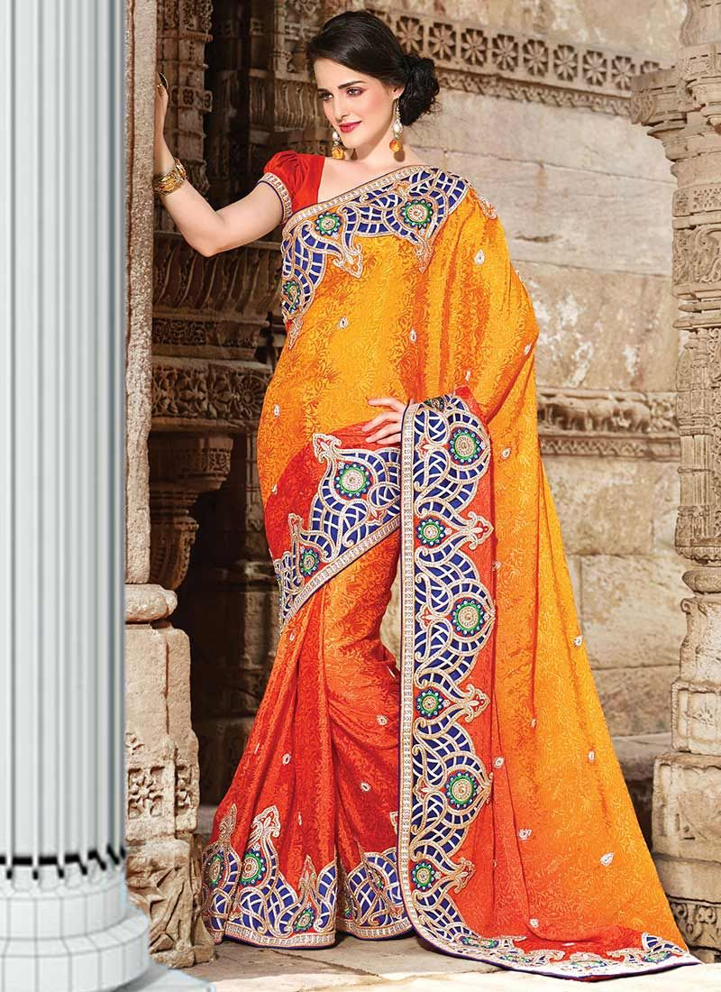 Orange Faux Crepe Saree
