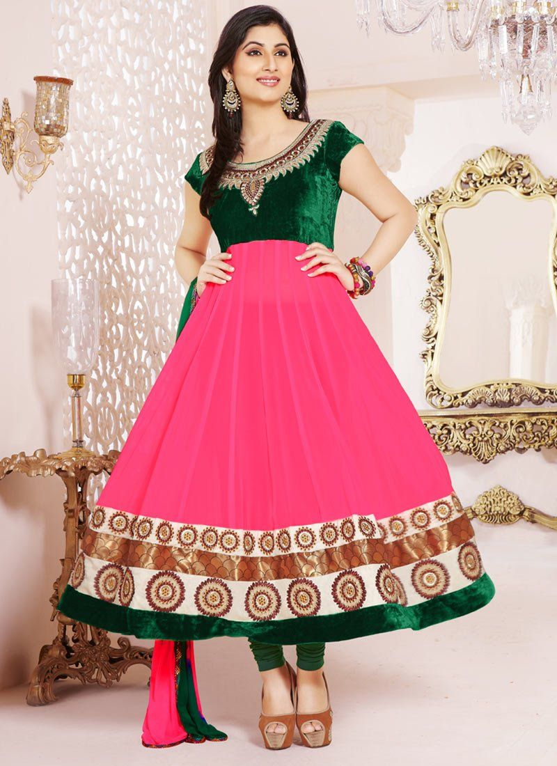 Pink Embroidery Georgette Anarkali Suit