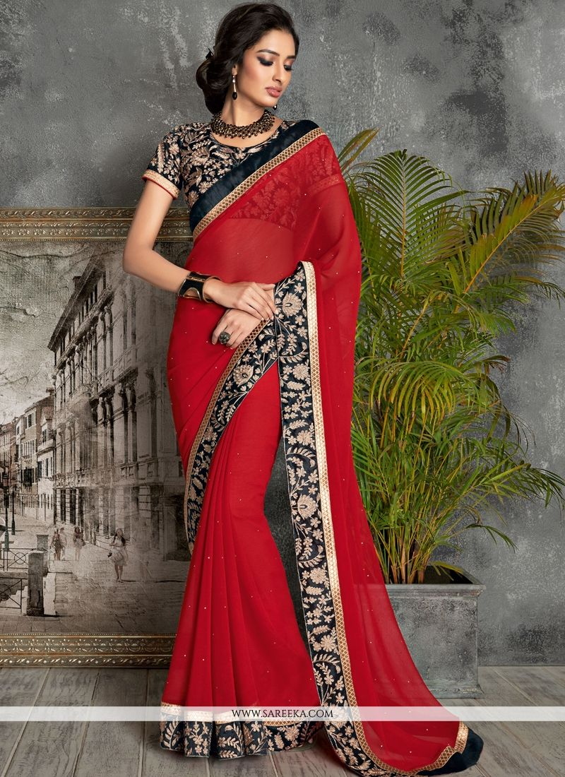 Red Faux Chiffon Contemporary Saree