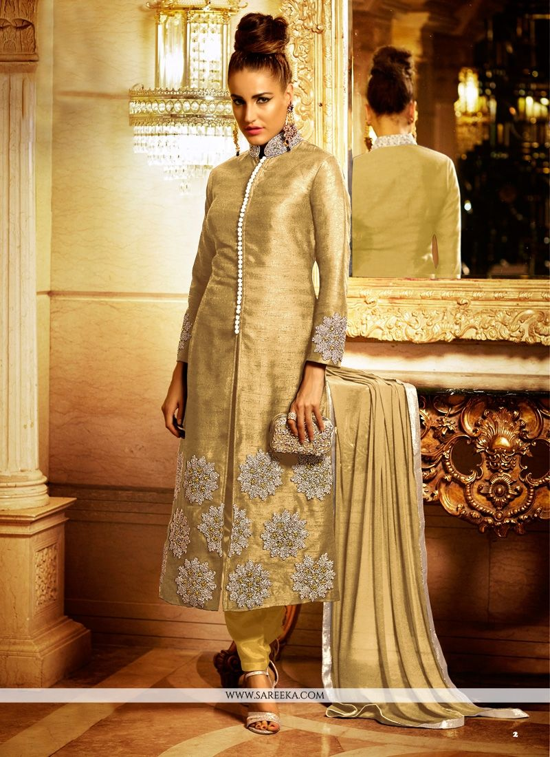Resham Work Bhagalpuri Silk Beige Designer Suit