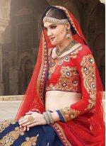 Silk Blue and Red A Line Lehenga Choli