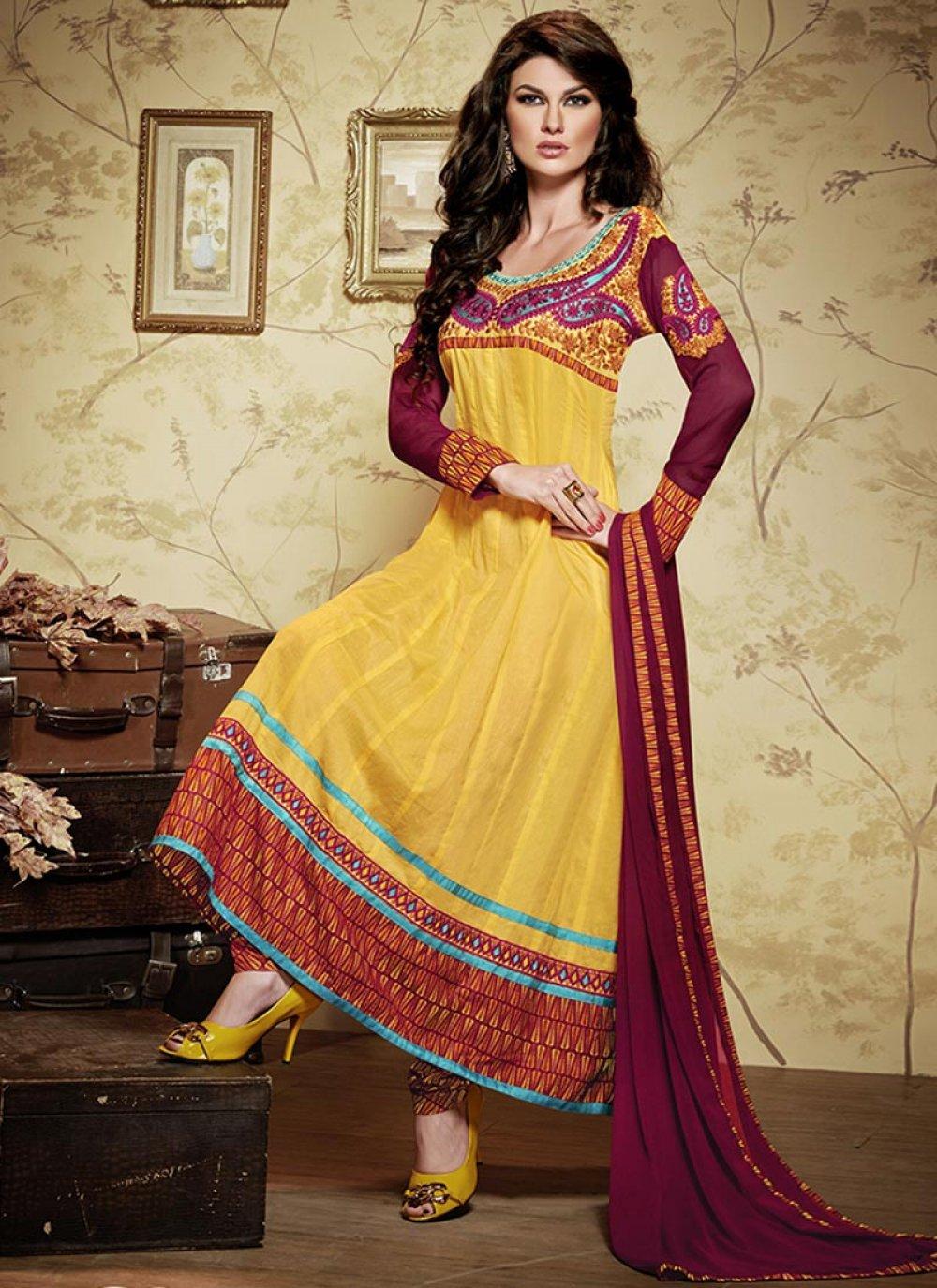 Yellow Border Work Cotton Anarkali Suit