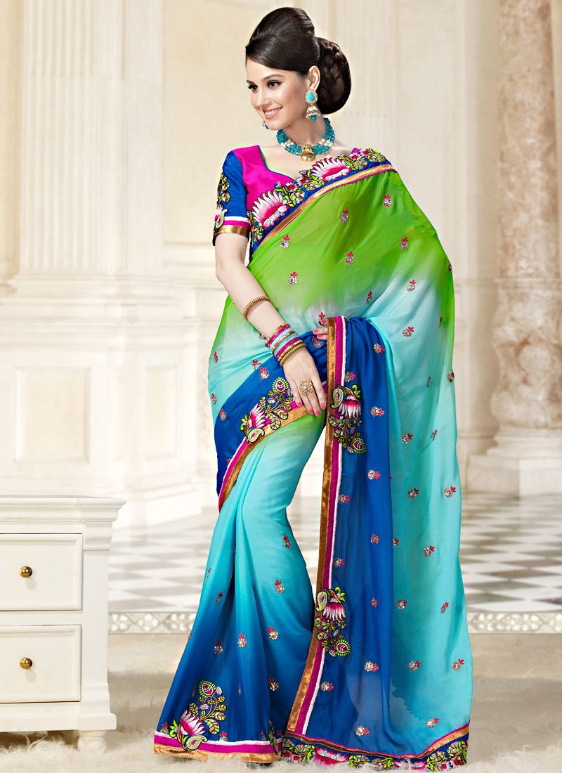 Tri Color Faux Georgette Saree