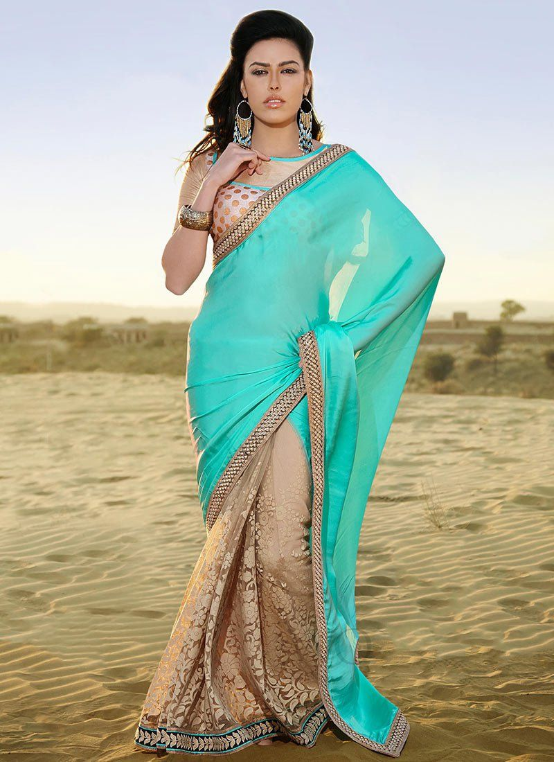Turquoise And Beige Embroidery Net Half And Half Saree