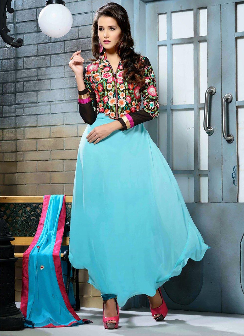 Turquoise And Black Resham Work Anarkali Salwar Suit