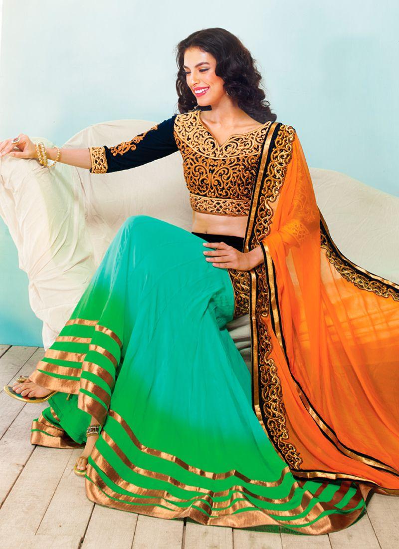 Turquoise And Green Shaded Georgette Lehenga Choli