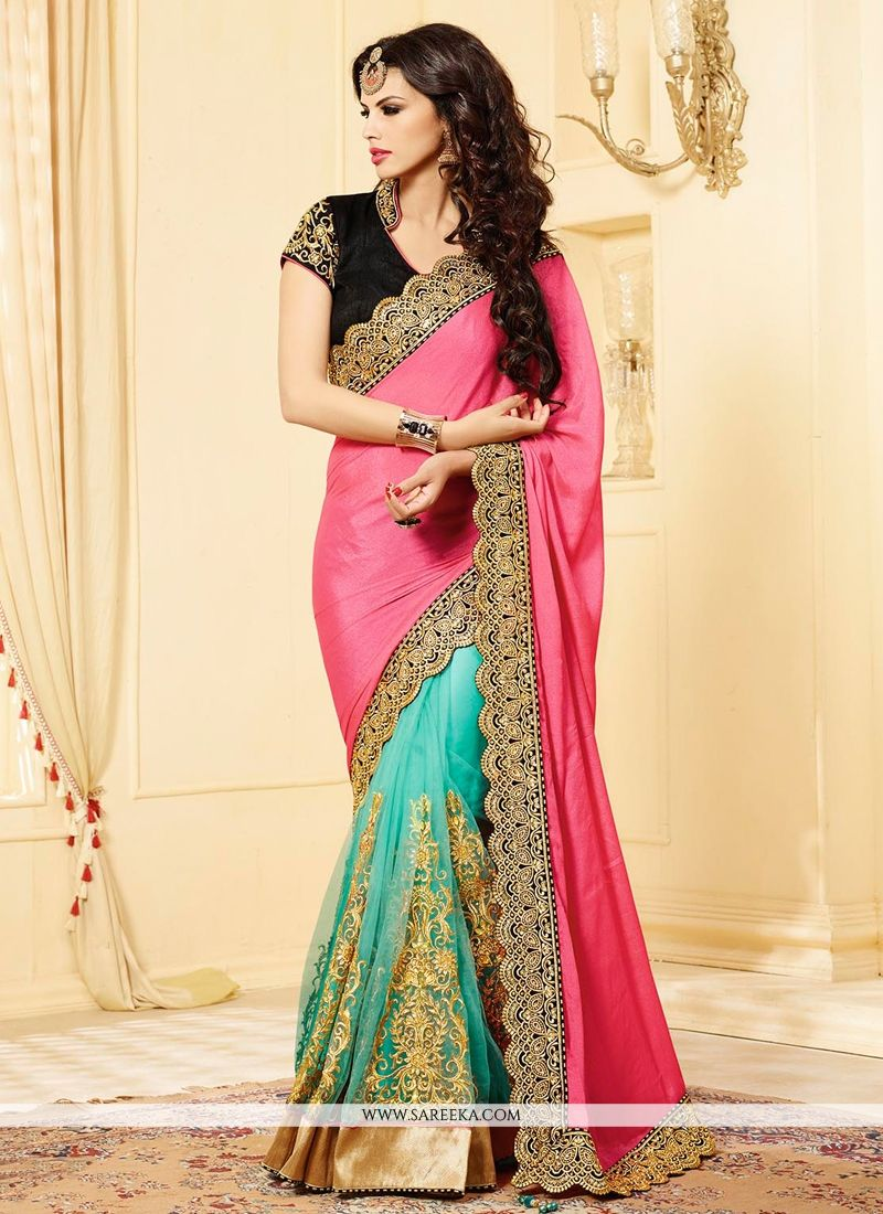 Turquoise And Pink Shimmer And Net Saree